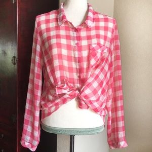 Free People Sheer Gingham Button Down Shirt